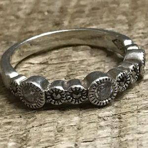 Judith Jack Sterling Silver Ring w/ Clear Stones
